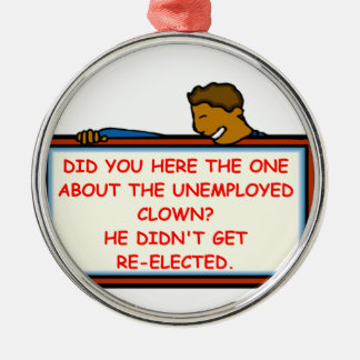 political joke round metal christmas ornament