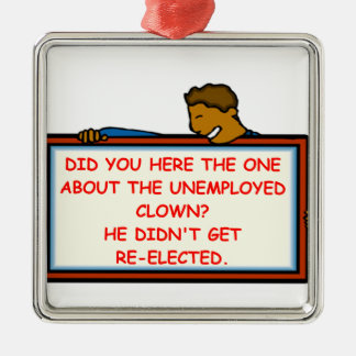 political joke square metal christmas ornament