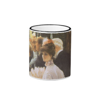 Political Lady by James Tissot, Vintage Victorian Coffee Mugs