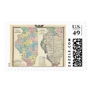 Political map of Illinois Postage