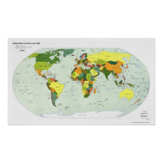 Political Map of The World - 1998 Poster