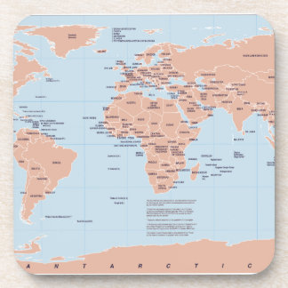 Political Map of the World Beverage Coaster
