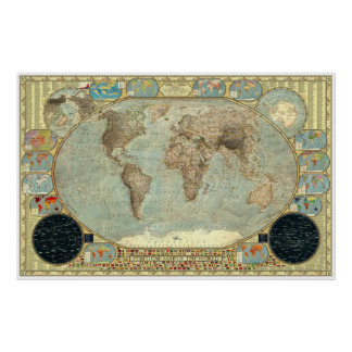 Political Map of the World - Imperial Decorative Print
