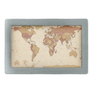 Political Map of the World Map Belt Buckle