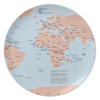 Political Map of the World Melamine Plate