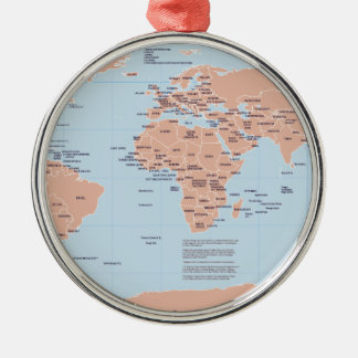 Political Map of the World Metal Ornament