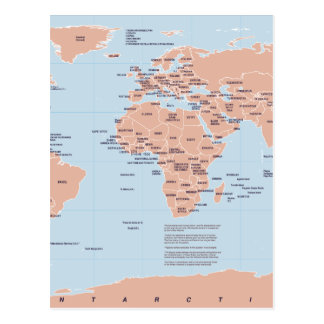 Political Map of the World Postcard
