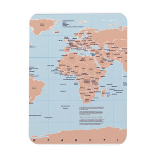 Political Map of the World Rectangular Photo Magnet