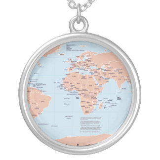 Political Map of the World Silver Plated Necklace
