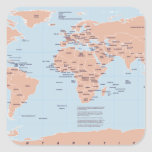 Political Map of the World Square Stickers