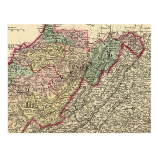 Political Map of West Virginia Postcard
