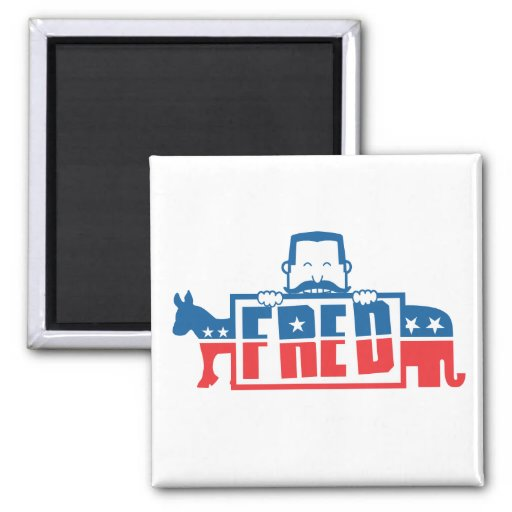 Political Party of Fred 2 Inch Square Magnet