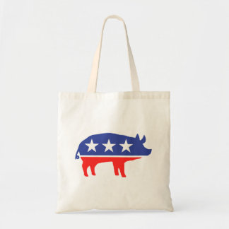 Political Party Pig Mascot Tote Bags