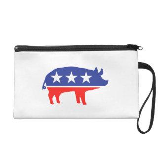 Political Party Pig Mascot Wristlet Clutch