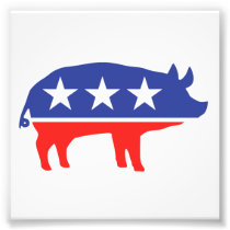 Political Party Pig Mascot Photo Print