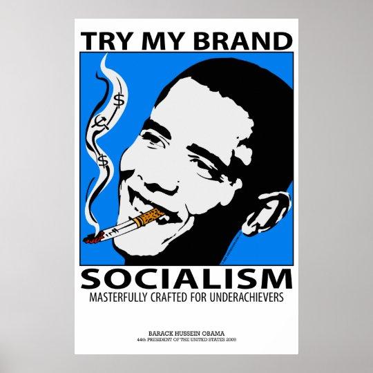 Political Satire Poster Obama Smoking Socialism