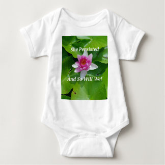 Political 'She Persisted' Pink Lotus Flower Baby Bodysuit