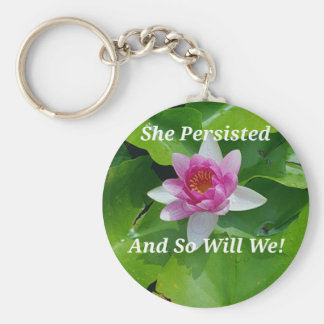 Political 'She Persisted' Pink Lotus Flower Keychain