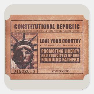 Political Ticket Square Sticker