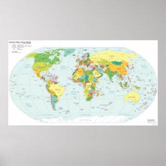 Political World Map & Corresponding Web Suffixes Print