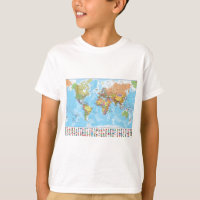 Political World Map with Flags T-Shirt