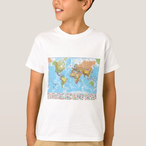 Political World Map with Flags T_Shirt