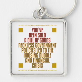 Políticas imprudentes del gobierno llavero cuadrado plateado
