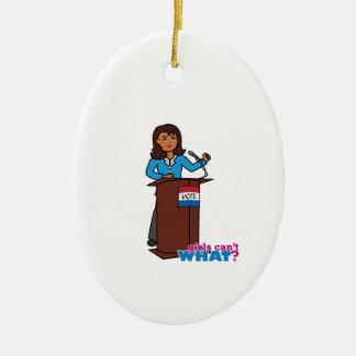 Politician Girl Ceramic Ornament