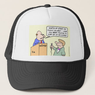 Politician hates family values question. trucker hat