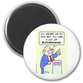 Politician won't lie, but will use euphemisms. magnet