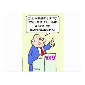 Politician won't lie, but will use euphemisms. postcard