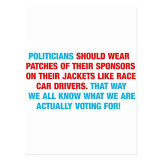 Politicians Should Wear Sponsor Patches Postcard