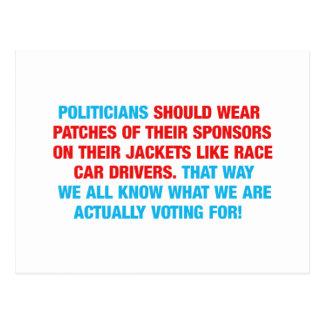 Politicians Should Wear Sponsor Patches Postcards