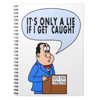 Político divertido del dibujo animado que se libreta