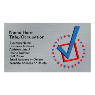 Políticos profesionales cepillados del voto de la  tarjetas de visita