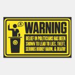 Políticos que advierten al pegatina