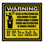 Políticos que advierten el poster