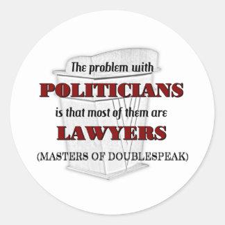 Políticos y abogados pegatina redonda