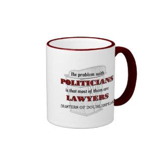 Políticos y abogados taza de dos colores