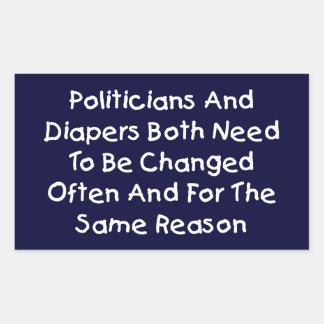 Políticos y pañales pegatina rectangular