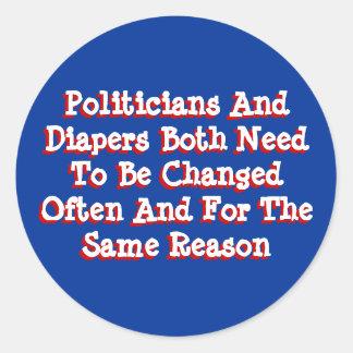 Políticos y pañales pegatina redonda