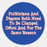 Políticos y pañales pegatinas redondas