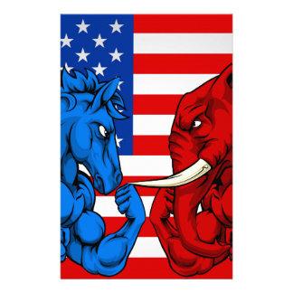 Politics American Election Concept Donkey vs Eleph Stationery