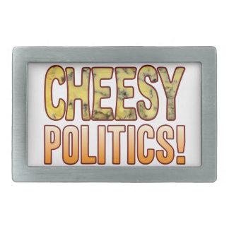 Politics Blue Cheesy Rectangular Belt Buckle