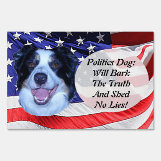 Politics Border Collie and American Flag Sign