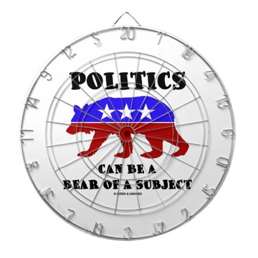 Politics Can Be A Bear Of A Subject Red White Blue Dartboard With Darts