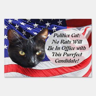 Politics Cat No Rats in Office American Flag Sign