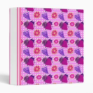 Polk-a-dots and Fruits - Pink Pattern 3 Ring Binder