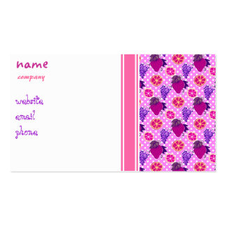 Polk-a-dots and Fruits - Pink Pattern Double-Sided Standard Business Cards (Pack Of 100)