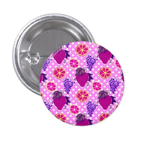 Polk-a-dots and Fruits - Pink Pattern Buttons
